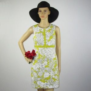 Boden Mustard Gold Embroidered Floral Dress Cream